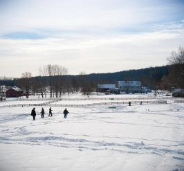 People at farm in snow
