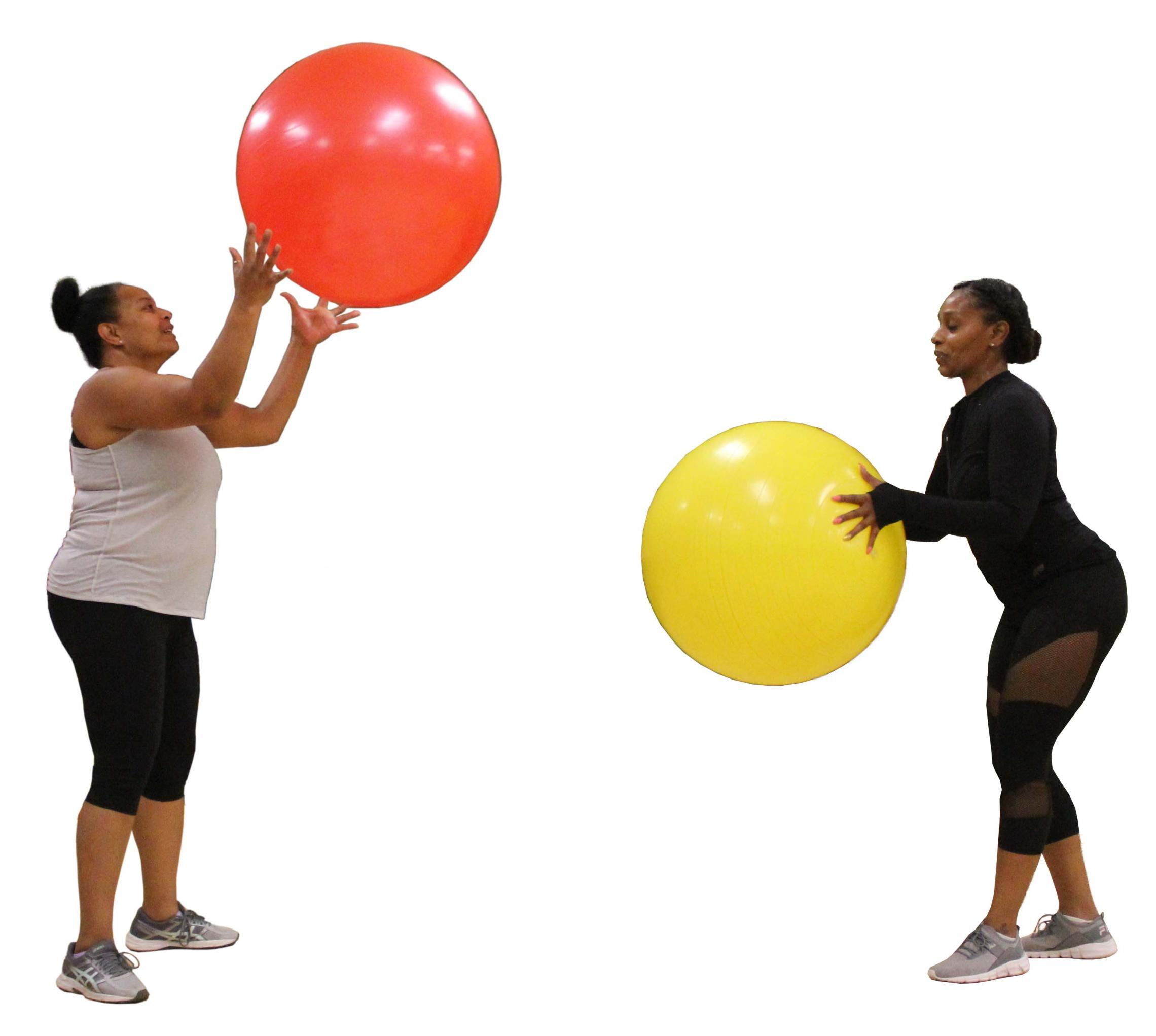 Two ladies with exercise balls