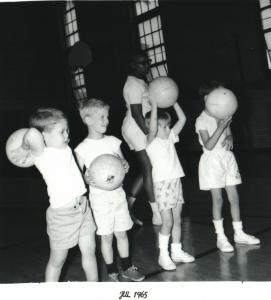Little kids with basketballs historic